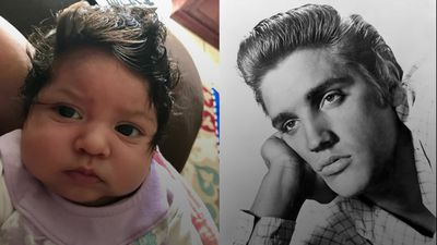 Adorable baby draws Elvis comparisons with thick black hair