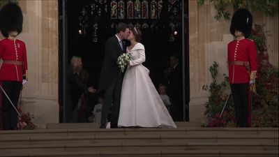 Princess Eugenie and Jack Brooksbank share a kiss after wedding