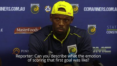 Usain Bolt relieved after scoring first goal for Central Coast Mariners