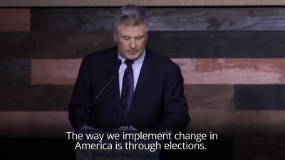 Actor Alec Baldwin tells voters to 'overthrow' Trump