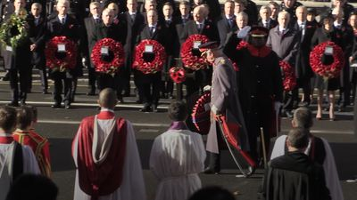 Prince of Wales leads Armistice centenary tributes at the Cenotaph