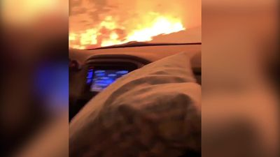 Footage from inside car shows devastation of California wildfires