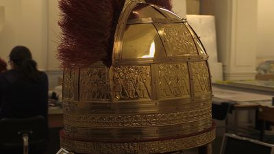 Copies of a rare Anglo-Saxon helmet found in a buried hoard go on display