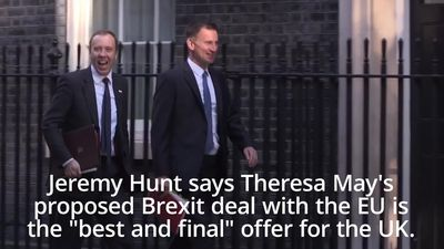 Jeremy Hunt: Theresa May's Brexit deal is the 'best and final' offer