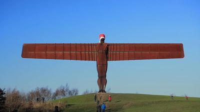 Santa hat appears on Gateshead's Angel of the North