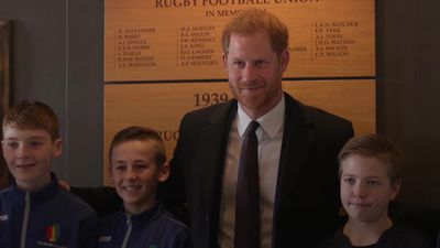Prince Harry meets youth players ahead of watching rugby