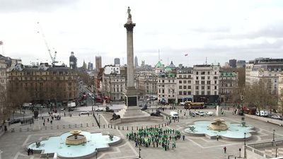Giant human shamrock formed in London's Trafalgar Square