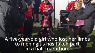 Little girl who lost her limbs to meningitis takes part in half marathon