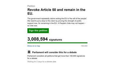 Petition calling for Theresa May to cancel Brexit reaches three million signatures