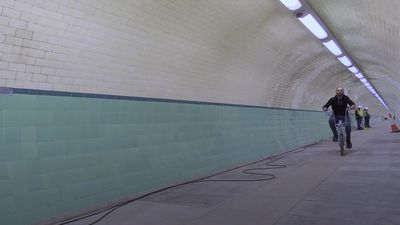 Inside the historic Tyne Cyclist Tunnel