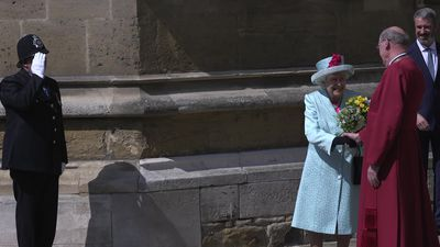 Happy Birthday sung to Queen after Easter Sunday service