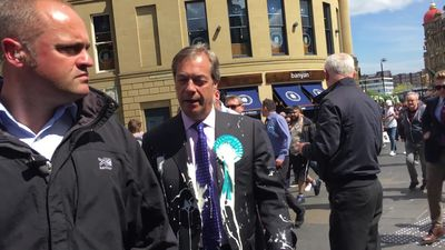 Nigel Farage milkshaked in Newcastle