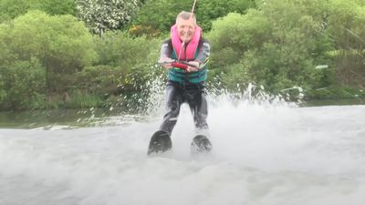 Scottish Lib Dem leader waterskis for European election campaign