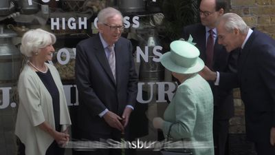 Queen marks 150 years of Sainsbury's with visit to replica store