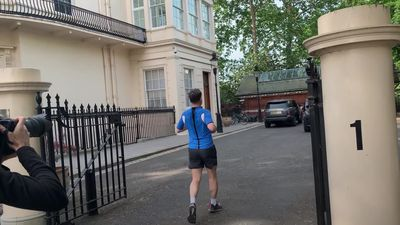 Jeremy Hunt jogs after launching his bid to become Conservative leader