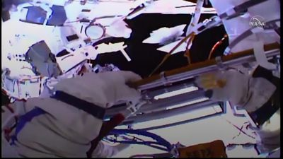 Two Russian cosmonauts conduct spacewalk