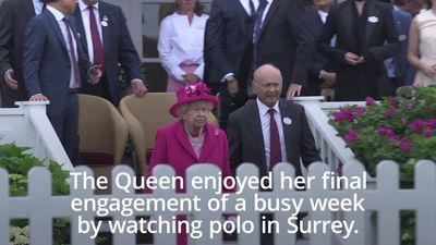 The Queen dazzles in pink at the Royal Windsor Cup Final