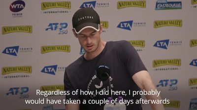 Andy Murray reacts to Eastbourne doubles loss
