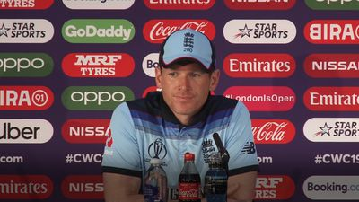 Eoin Morgan reacts to the defeat against Australia