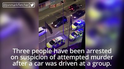Attempted murder arrests after car drives at group