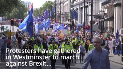 Protesters gather for march against Brexit