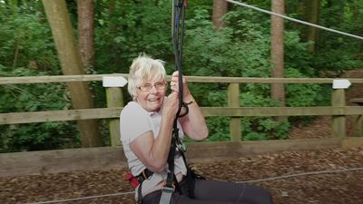 84-year-old completes zip wire at Leeds Castle
