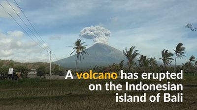 Volcano on Indonesian island of Bali erupts, hurling ash and lava