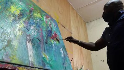 Senegalese artist creates coronavirus era paintings