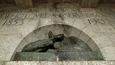 Cecil Rhodes monument damaged in Cape Town