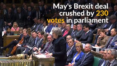 Theresa May suffers historic defeat after parliament rejects Brexit deal