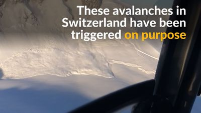 Controlled explosions trigger avalanches in Swiss Alps