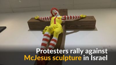 Protests break out against 'McJesus' sculpture in Israel