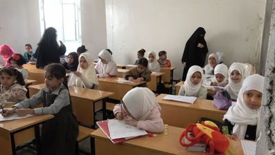 Learning returns to a bombed-out Yemen school