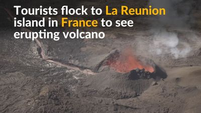Massive erupting volcano lures visitors to La Reunion island