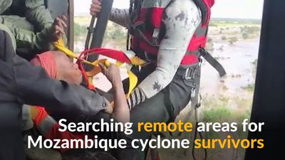 Mozambique cyclone survivors plucked from trees and roofs