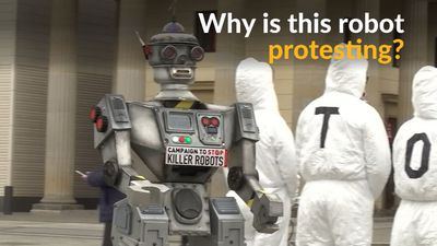 Robot mascot leads protest against autonomous weapons