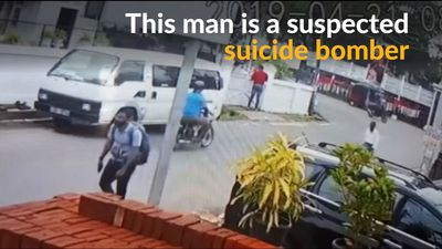 Suspected suicide bomber in Sri Lanka caught on camera