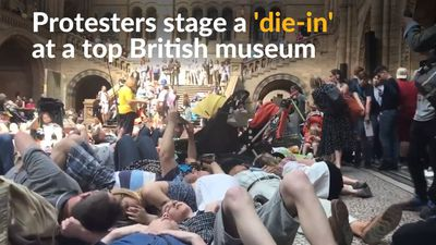 Climate change 'die-in' protest held in top UK museum
