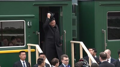 Kim Jong Un arrives for summit with Russia's Putin