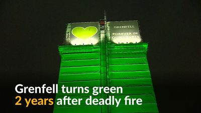 Grenfell Tower turns green to commemorate victims of fire