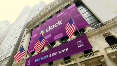 Slack stock surges at market debut