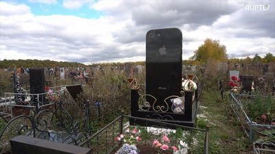 The Luxury of iGrave: Woman receives giant iPhone-shaped tombstone