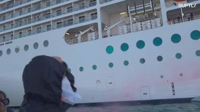 Fireworks launched at luxury cruise ship in Venice