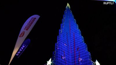 World's tallest Christmas tree from BOTTLE CRATES set up in Gera