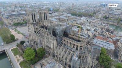 Drone footage shows damage to roof of Notre Dame