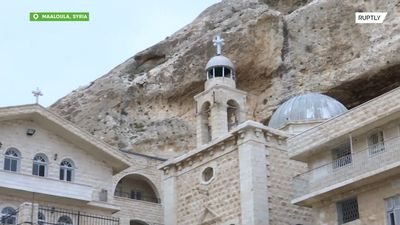 Russian worshipers visit ancient Orthodox monastery in Maaloula, Syria, before Easter