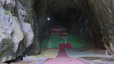 The ultimate crossover? Karst cave in China converted into basketball court