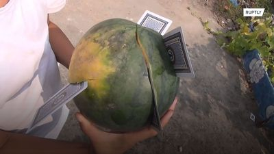 Real-life fruit ninja is a card throwing ace