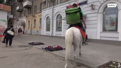 Prince Charming, with dinner in a box – Russian delivery man brings you pizza on horseback