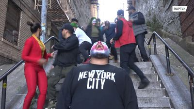 Movie fans flock to 'Joker Stairs'